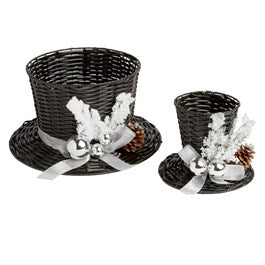 Large Black Wicker Top Hat Basket