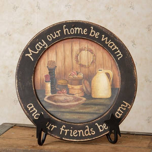 "Large Wooden Plate ""May Our Home Be Warm"""