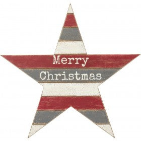 Merry Christmas Slat Wood Star