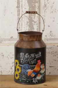 Life Is Better On The Farm Metal Farmhouse Milk Can
