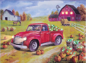 "Red Truck Autumn Lit Canvas 17"" x 13"""