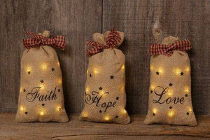 Stuffed Lit Burlap Fabric Sacks