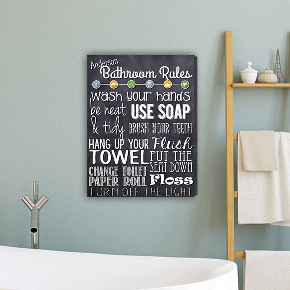 Personalized Bathroom Rules Black Sign
