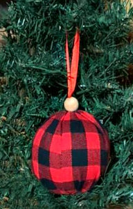 Red and Black Buffalo Check Ornament
