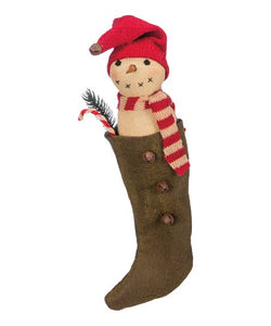 "Primitive Stocking With Snowman 9"" Ornament"