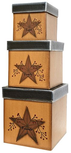 Star And Berry Primitive Nesting Boxes