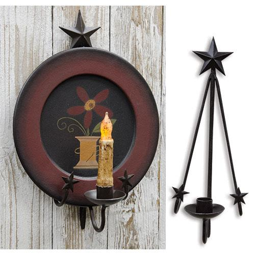 Star Hanging Plate And Taper Candle Holder