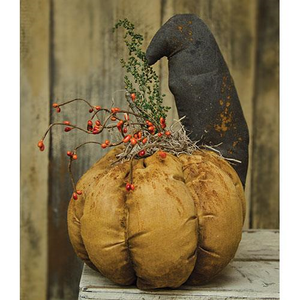 Stuffed Primitive Fabric Crow And Pumpkin