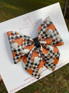 Plaid pumpkins sailor bow