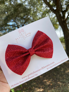Red glitter felt pinch bow