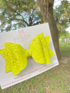 Large iridescent neon yellow chunky glitter