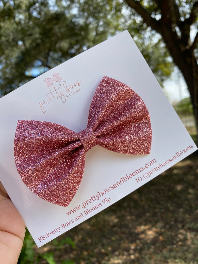 Light pink glitter felt pinch bow
