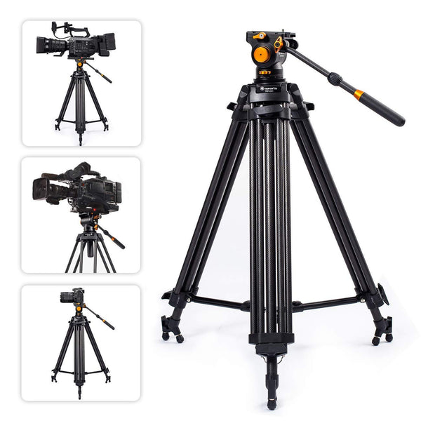 TARION Pro TRP-C01 Camera Tripod and TRP-FH01 Fluid Head