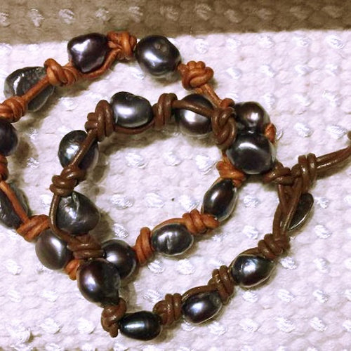 Leather Pearl Knotted Bracelet