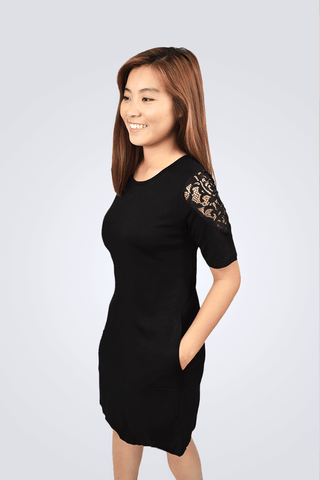 Brielle Short Sleeved Lace Sleeve Dress - Shopkenjo