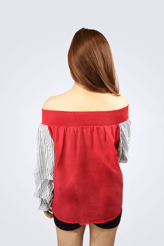 Agnes Off Shoulder With Stripes Top - Shopkenjo