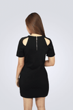 Anabel Short-Sleeved Black Dress - Shopkenjo