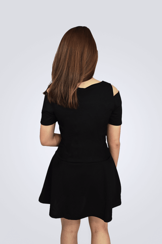 Desiree Black Shoulder Slit Short Sleeve Dress - Shopkenjo