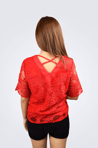 Amberle V-Neck Lace Top - Shopkenjo