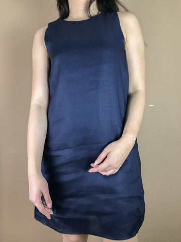 Amelia Navy Blue Linen Dress