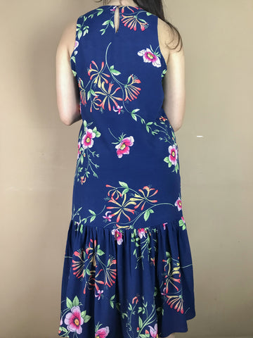 Eve Blue Floral Fish Tail Dress