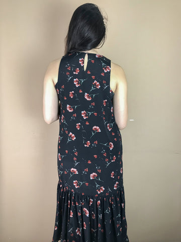 Evie Black Floral Fish Tail Dress