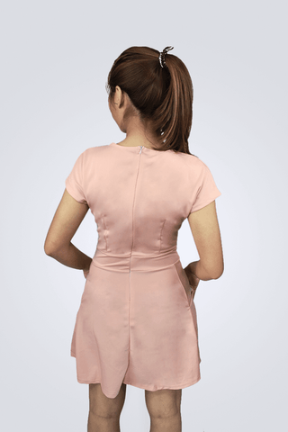 Janice Pink Short Sleeve Dress With Pockets - Shopkenjo