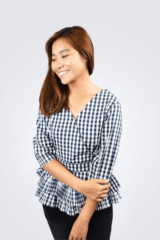 Joey Checkered Peplum Top - Shopkenjo