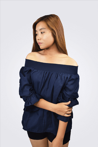 Eunice Off Shoulder Rugged Sleeve Top - Shopkenjo
