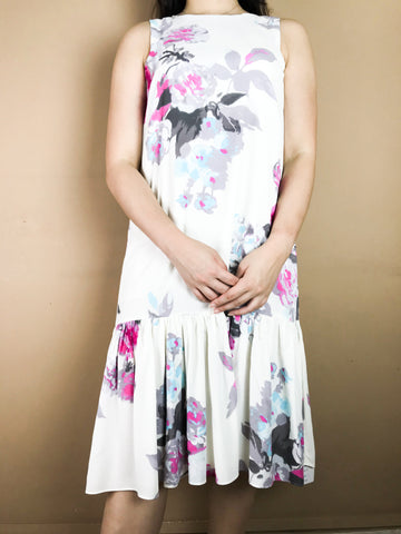 Celeste White Floral Fish Tail Dress