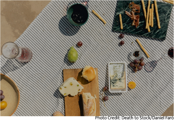 Picnic spread to share food with friends for social well-being
