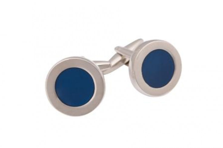 Polished Rhodium Plated Round Cufflinks with Dark Blue Enamel Inlay
