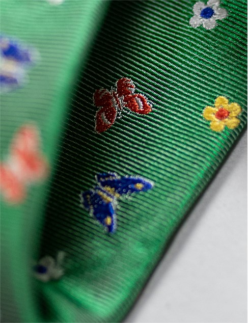 JAMES HARPER BUTTERFLY PRINT TIE GREEN