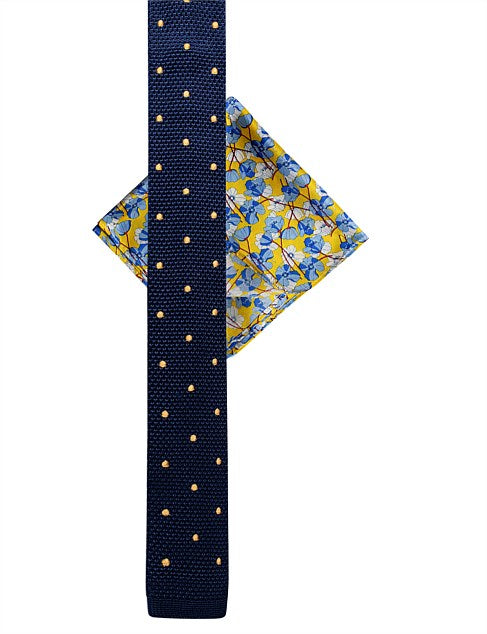 JAMES HARPER FLOWER HANK & KNITTED SPOT TIE