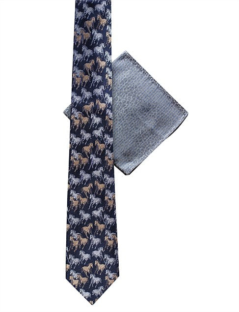 JAMES HARPER BLUE TEXTURED HANK & HORSE TIE SET