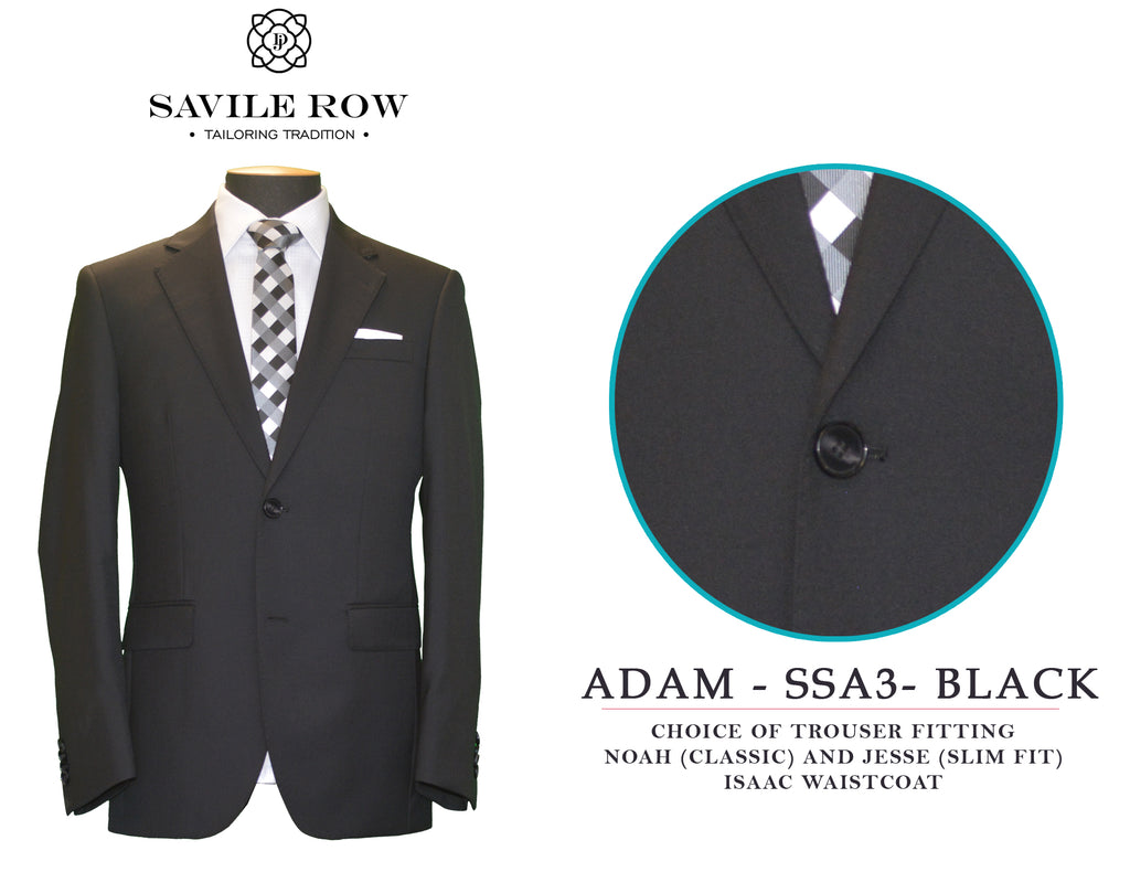 Savile Row Classic Plain Black Suit SSA3