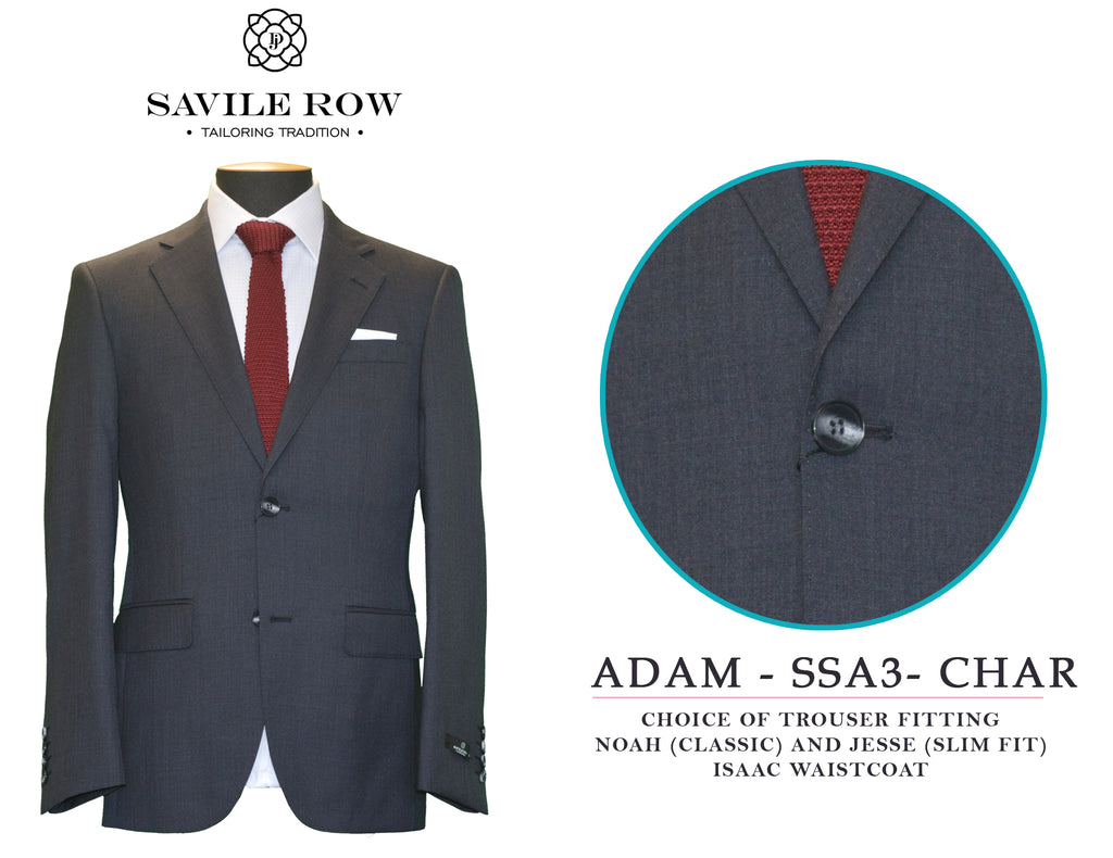 Savile Row Classic Plain Charcoal Suit SSA3