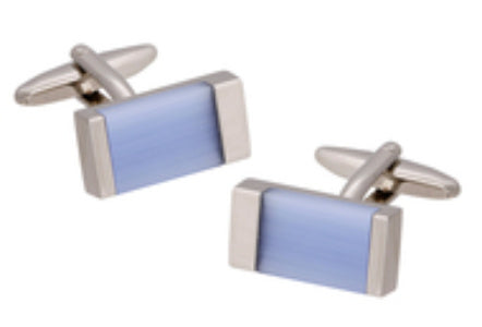 Buckle Cufflink Blue Cat Eye Stone - Silver 043