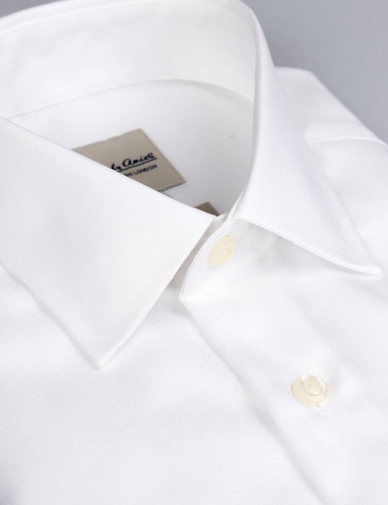 Hardy Amies White Herringbone Shirt