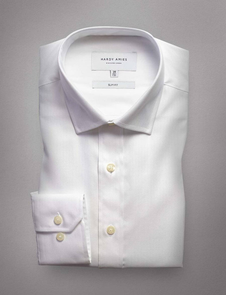 Hardy Amies White Herringbone Business Shirt (Slim Fit)