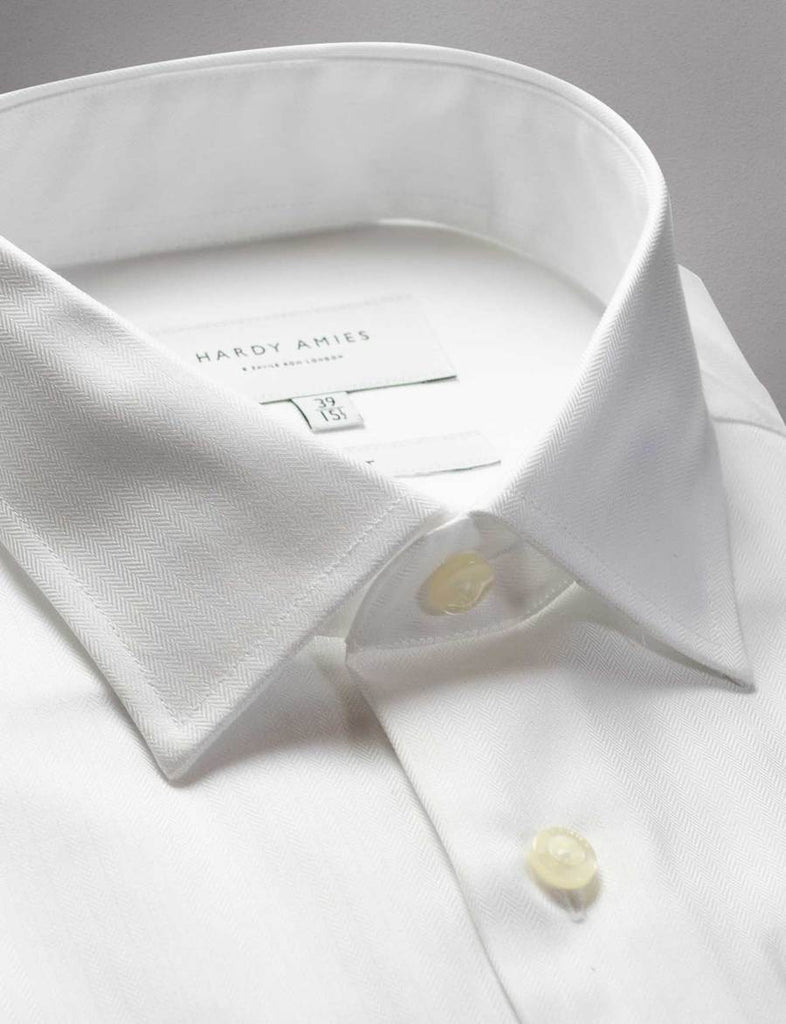 Hardy Amies White Herringbone French Cuff Shirt (Slim Fit)