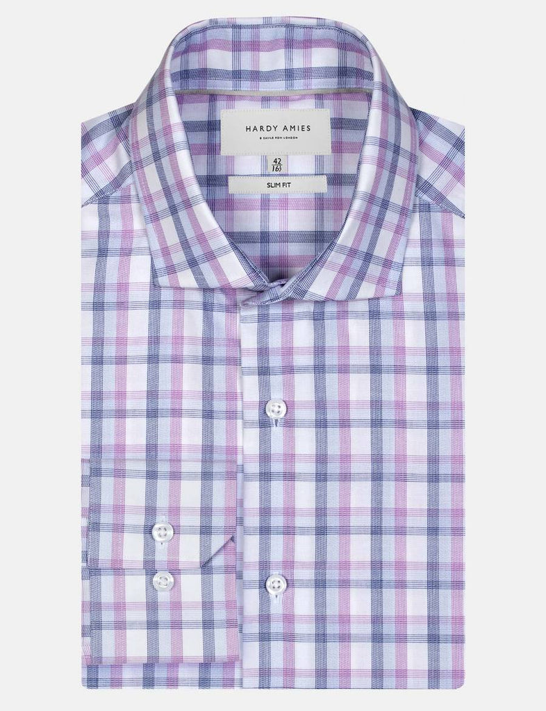 Hardy Amies Lilac Check Business Shirt (Slim Fit)