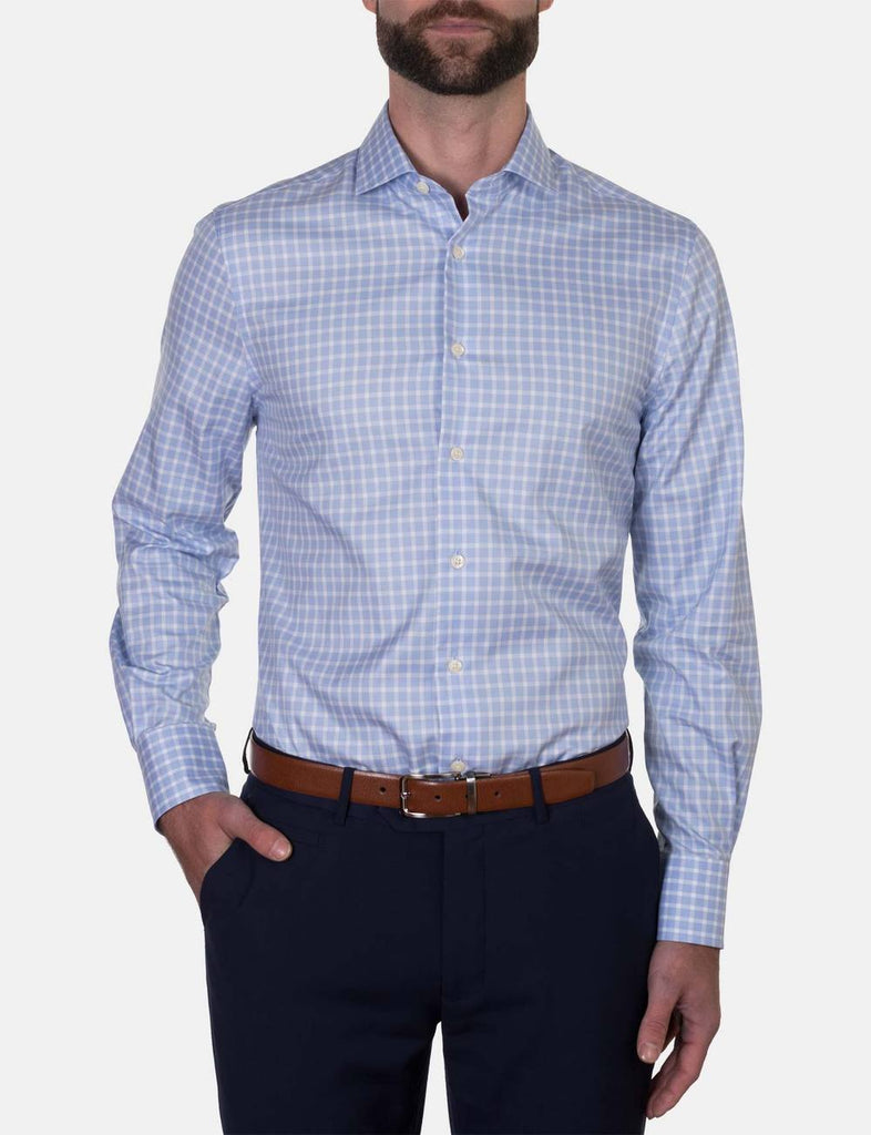 Hardy Amies Sky Blue Check Business Shirt (Slim Fit)