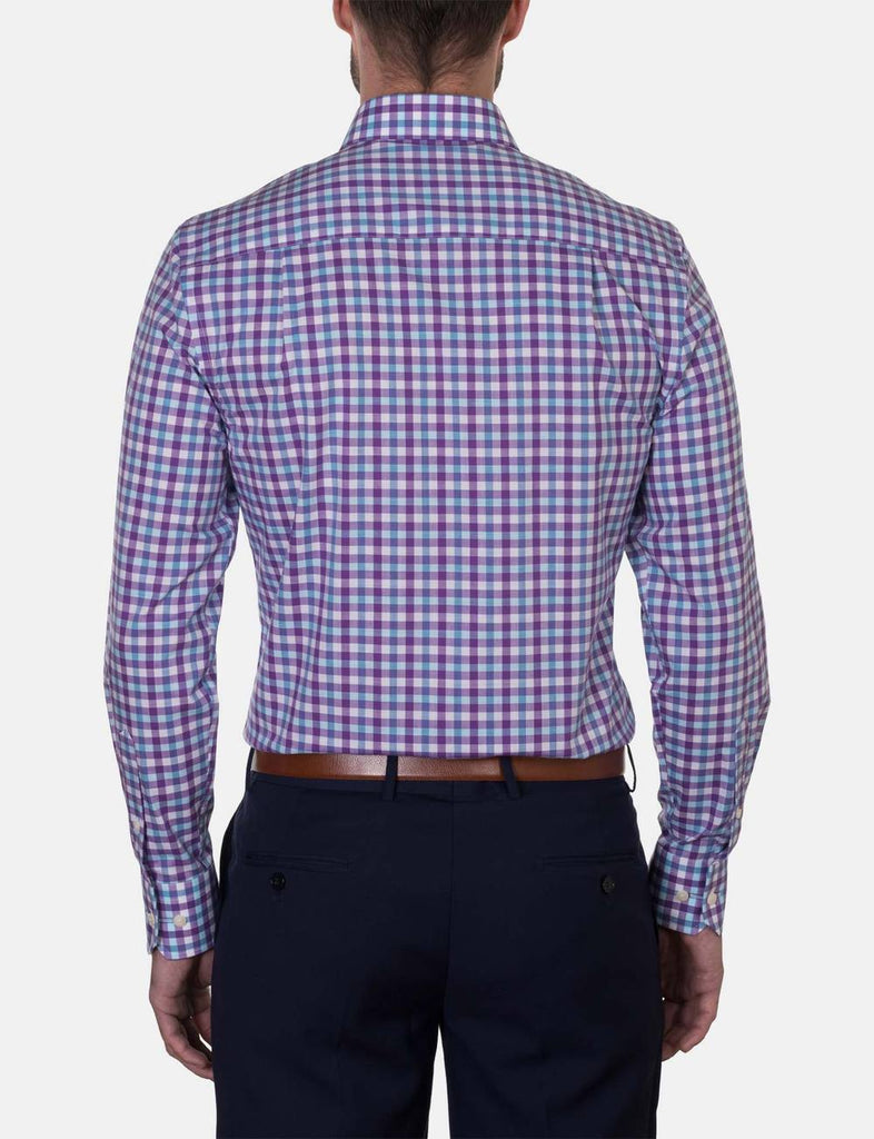 Hardy Amies Plum Check Business Shirt (Slim Fit)