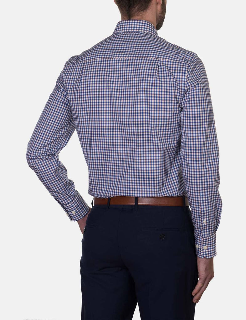 Hardy Amies Orange Check Business Shirt (Slim Fit)