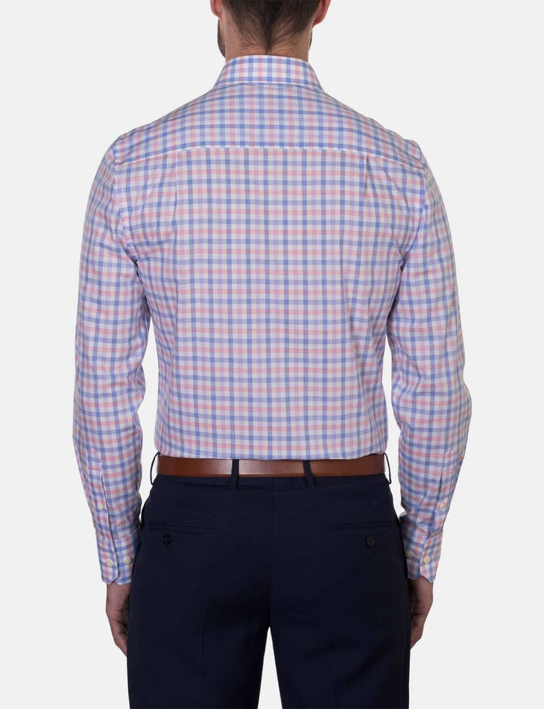 Hardy Amies Coral Check Business Shirt (Slim Fit)