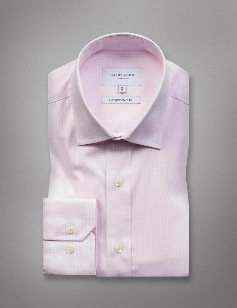 Hardy Amies Pink Micro Grid Business Shirt (Slim Fit)
