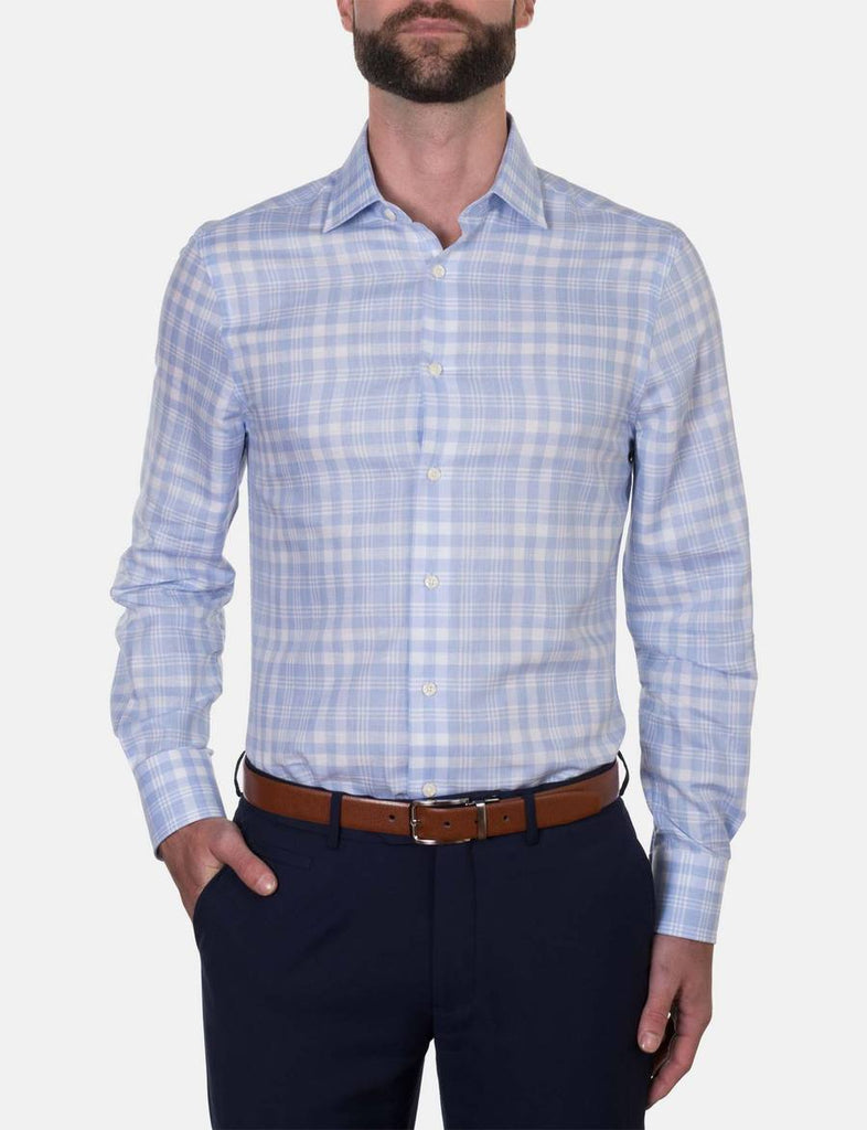Hardy Amies Light Blue Check Business Shirt (Slim Fit)