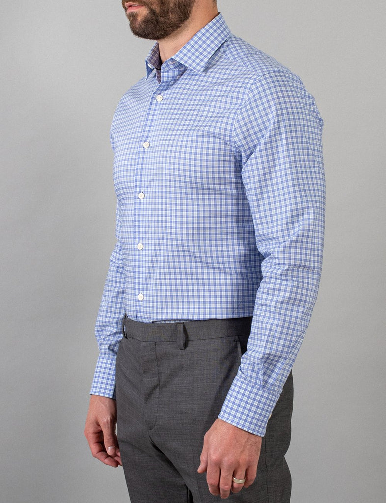 Hardy Amies Mint and Blue Check Business Shirt (Slim Fit)