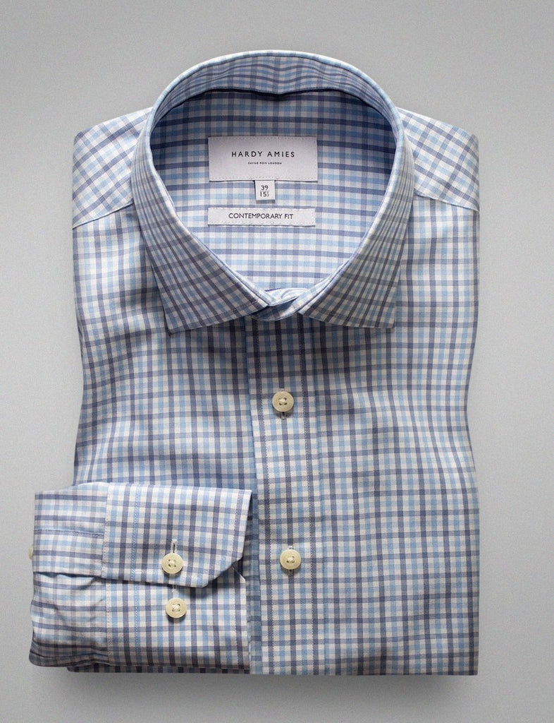 Hardy Amies Blue Check Shirt (Contemporary Fit)